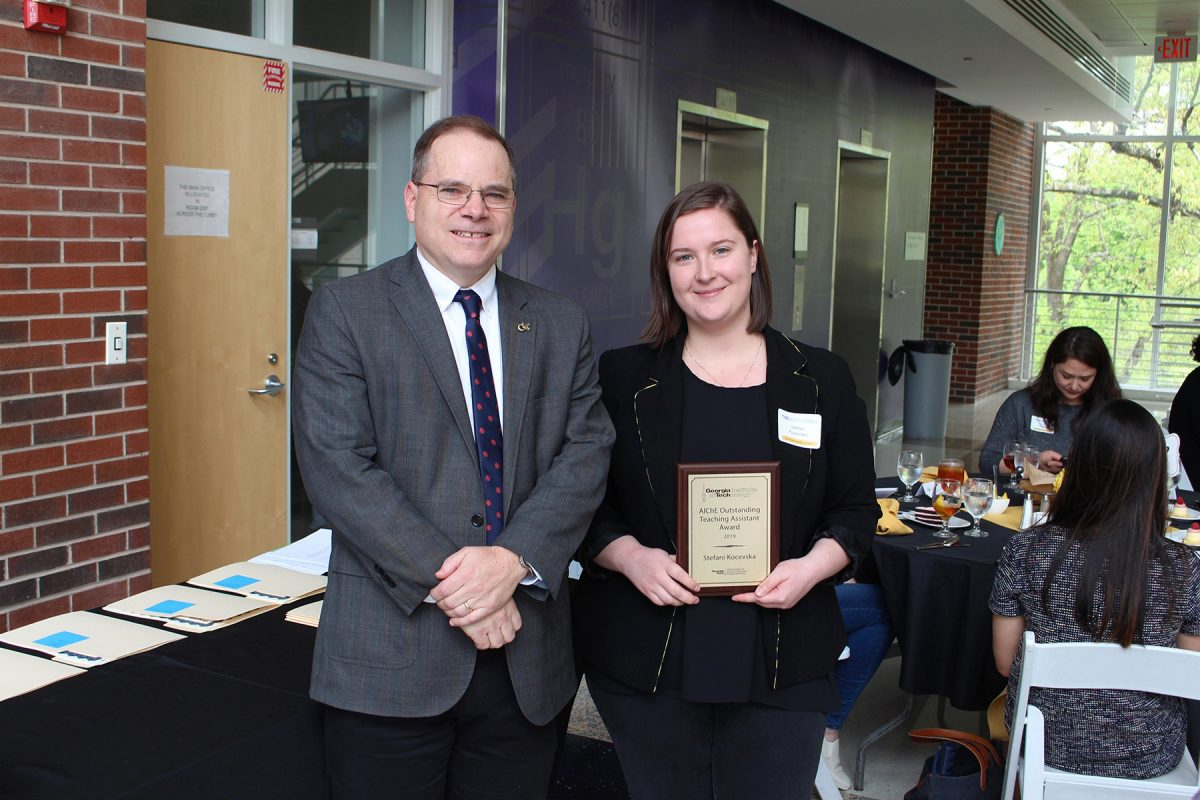 School Chair David Sholl andOutstanding Graduate Teaching Assistant Stefani Kocevska