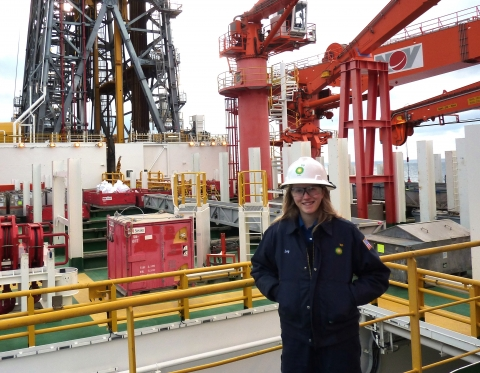 ChBE alumna Lucy Pettitt-Schieber on a BP oil rig