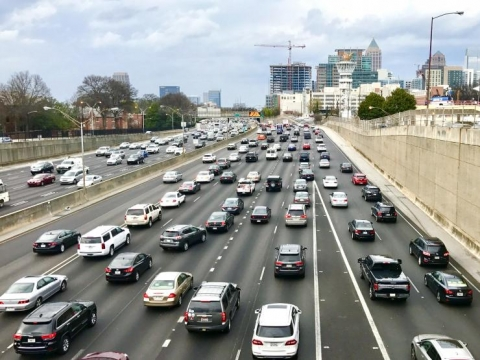 <p>Rush hour traffic on the downtown connector in Atlanta. (Credit: Josh Brown)</p>