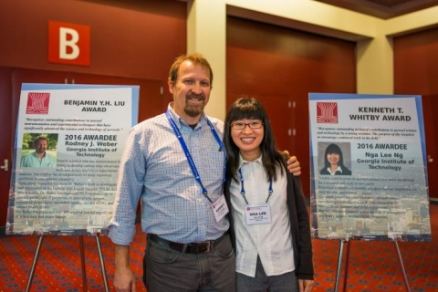 <p>Rodney Weber and Sally Ng at the annual AAAR meeting in Portland, Oregon. Photo courtesy of Sally Ng.</p>