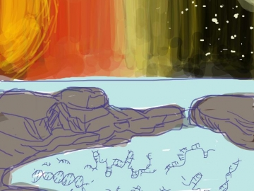 <p>Gene puddle primeval, a drawing by first author Christine He to illustrate her discocery that viscosity moves DNA and RNA strands forward toward spontaneous gene strand replication. Credit: Georgia Tech / Christine He</p>